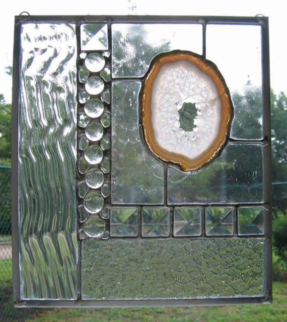 Clear Sparkle Agate Modern Stained Glass Suncatcher