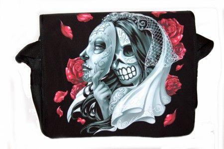 Álarcos koponya rózsákkal oldaltáska