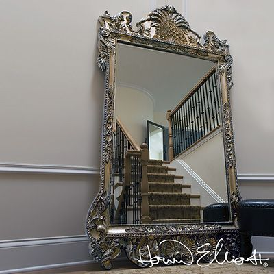 Marquette Mirror by Howard Elliott for that dramatically ornate French look available at  http://www.metropolitandecor.com/Howard-Elliott-Marquette-Mirror-MD.html