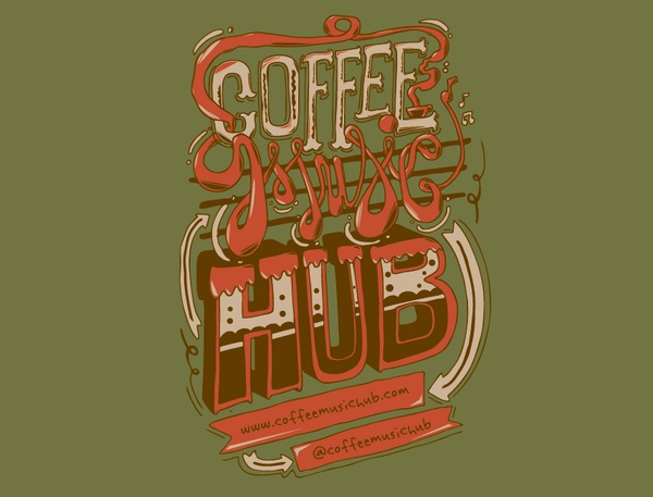 Coffee Music Hub by Lenworth McIntosh, via Behance  Illustrated logo different approach to many I have researched. Particularly drawn to the colour scheme, orange and green. Also think this is very fun and appealing to a young target market