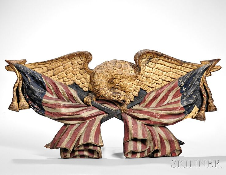 Carved Polychrome and Gilt Eagle Plaque, America, 19th century. | Lot 602 | Auction 2961B | Sold for $23,370