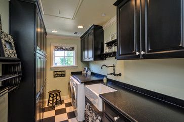 "6' 2.5"" wide laundry room. French Provincial Home - traditional - Laundry Room - San Francisco - BayWorks, Inc."