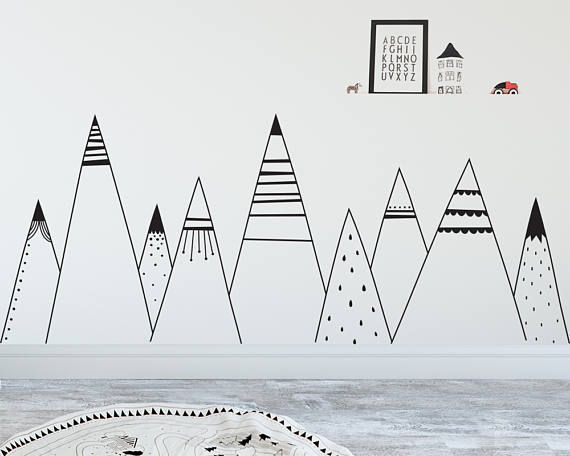 Patterned Mountains Wall Decal Mountain Decal Woodland