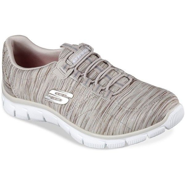 Skechers Women's Empire Game On Relaxed-Fit Slip-On Sneakers ($42) ❤ liked on Polyvore featuring shoes, sneakers, taupe, slip-on shoes, black mesh shoes, mesh slip on shoes, black shoes and slip on sneakers