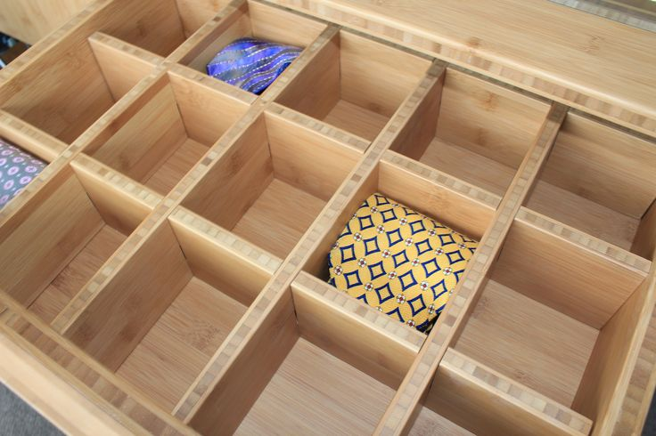 Bamboo drawer dividers. Ideal for storing ties, jewellery, scarves - easy to find and organise. Great idea from Cabinetmakers Choice team !