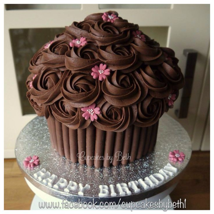 Chocolate Giant Cupcake www.facebook.com/cupcakesbybeth1