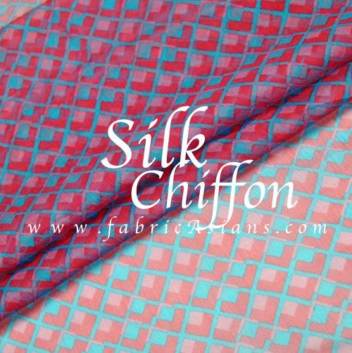 Graphic Silk Chiffon in pink and blue. Retro fabric by fabricAsians