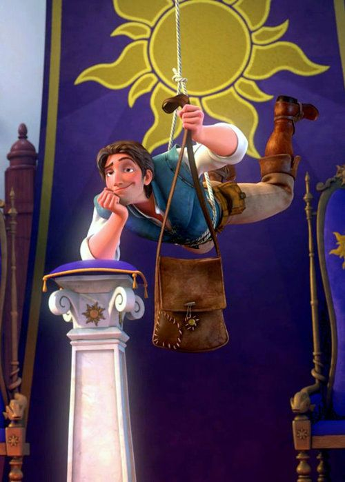 Flynn Rider. I love how he just hangs there and talks to the soldier...... :) love Flynn <3