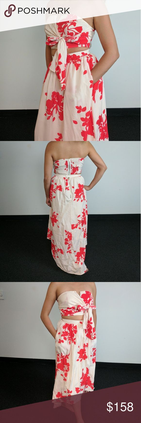 Floral 2 Piece Skirt ?? Very unique floral 2 piece - Bandeau top with tie in front - Top back zipper - Midi skirt has pockets - Skirt has tulle layers underneath for a fuller effect - Back skirt zipper with button clasp - Got tons of compliments with this one!   Purchased from Nordstrom Dresses Midi
