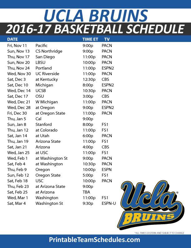UCLA Bruins Basketball Schedule 2016-17.  Print Here - http://printableteamschedules.com/NCAA/uclabruinsbasketball.php