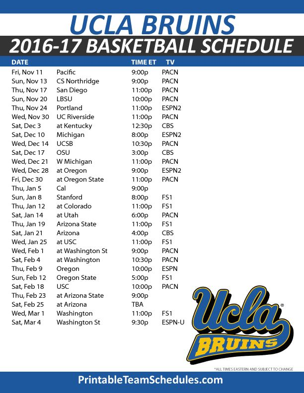 UCLA Bruins Basketball Schedule 2016-17.  Print Here - http://printableteamschedules.com/NCAA/uclabruinsbasketball.php