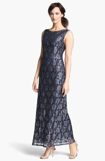 Pisarro nights embellished lace sleeveless a line gown for Nordstrom short wedding dresses