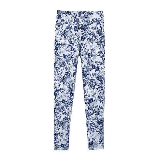Fresh Floral Print Lesiure Fashion Elastic Long Pencil Pants