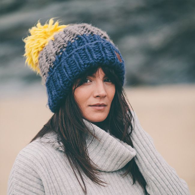 Roo's Beach Bobble Beanie in Dusty Blue with a voluptuous mustard coloured bobble. His or hers - no fighting now!
