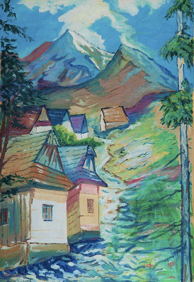 Vlkolínec, olej na plátne 75 x 52 cm, Pavel Huszár, Banská Bystrica, Slovakia