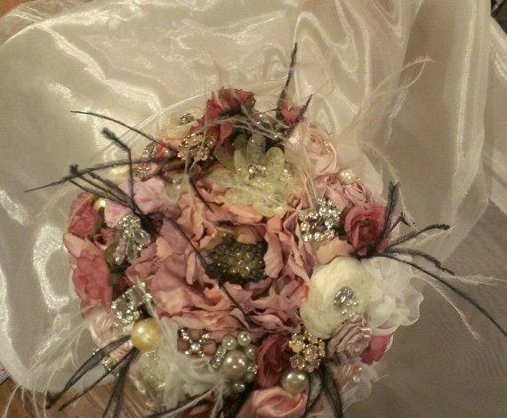 Romantic shades of pink bridal brooch bouquet. facebook.com/LeeJames.vintagepetals