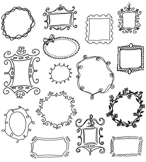 Doodle Frames Clip Art Pack - Set of 15 Unique Hand-drawn Frames for Scrapbooking, Websites, Logos, Banners & More. $4.99, via Etsy.