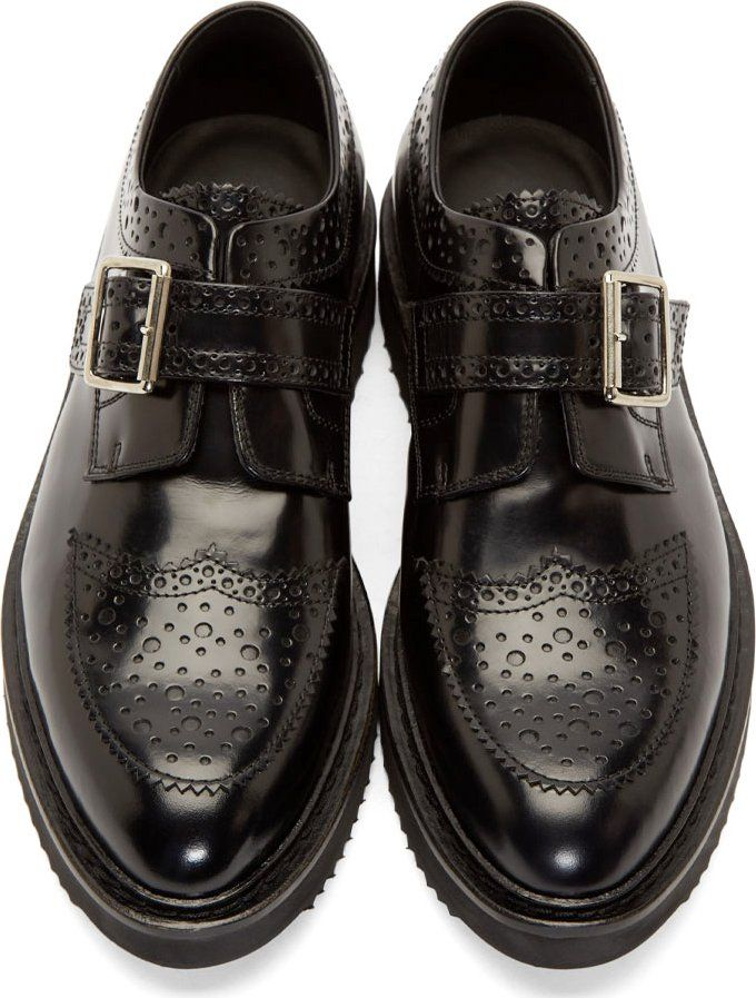 Krisvanassche Black Polished Leather Creeper Brogues