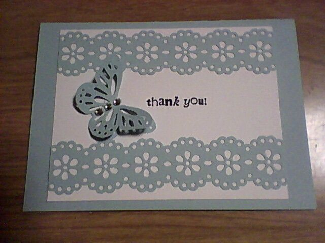 Martha Stewart punches - butterfly & double edge. Small thank you.