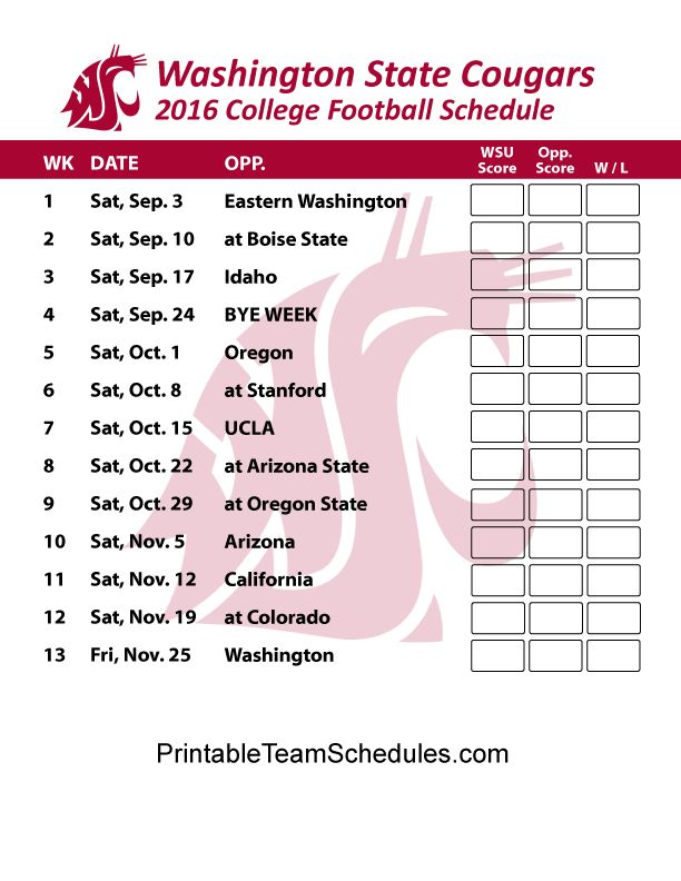 Washington State Cougars Football Schedule 2016. Print Schedule Here - http://printableteamschedules.com/collegefootball/washingtonstatecougars.php