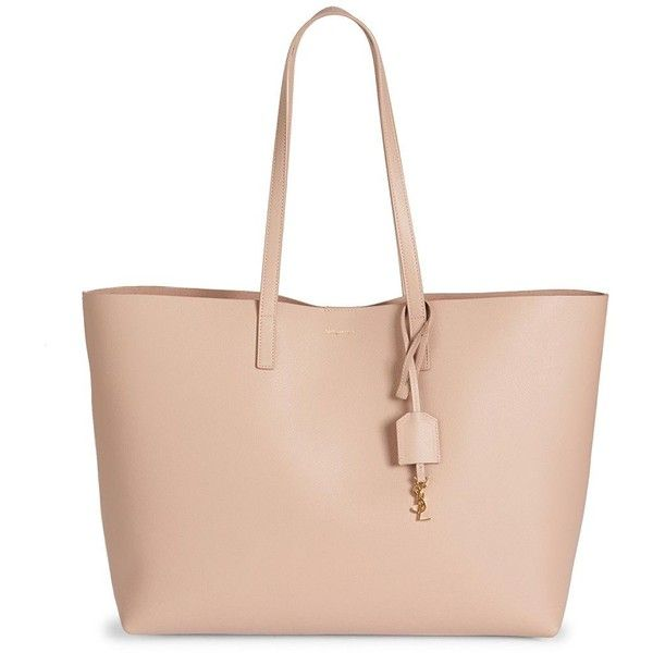 Saint Laurent Women's Saint Laurent Large Smooth Leather Shopping Tote (£775) ❤ liked on Polyvore featuring bags, handbags, tote bags, handbags - ysl handbags, nude rose, man bag, yves saint-laurent tote, handbags totes, pink handbags and pink tote