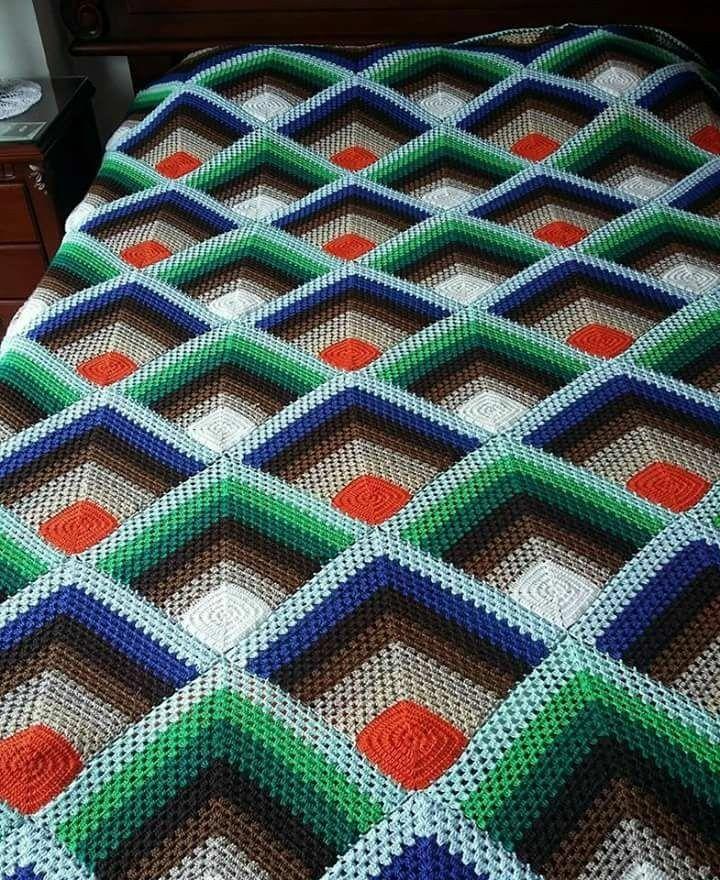 Colcha de croche em quadrados