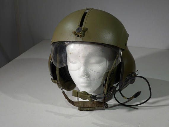 Aircraft Aviation Helicopter Helmet Viet Nam Era Early Green