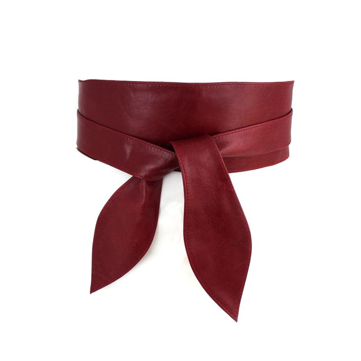 Burgundy Leather Wide Wrap Belt made from 100% leather.