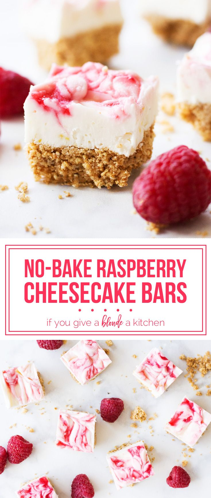 No bake raspberry cheesecake bars are sweet bites perfect for Valentine's Day! | www.ifyougiveablondeakitchen.com