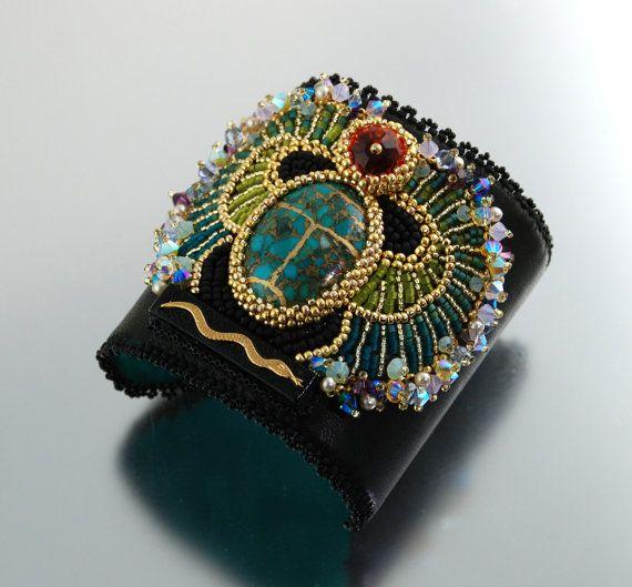 Egyptian Scarab Bracelet  Statement Cuff Bead by LuxVivensFashion, $185.00