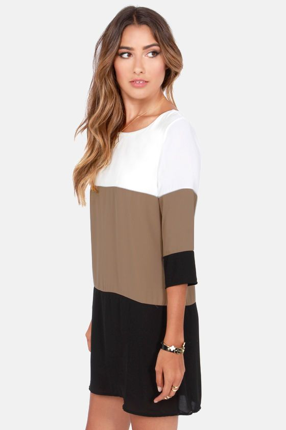 Lulu's Exclusive! Nothing breaks through those cold-weather blues like a sun-kissed walk in the Citrus Grove Taupe Color Block Shift Dress! Contrasting bands of ivory, taupe (with a hint of tan), and black sharpen up a shift bodice and three-quarter sleeves. Bateau neckline. Back keyhole has top button closure.