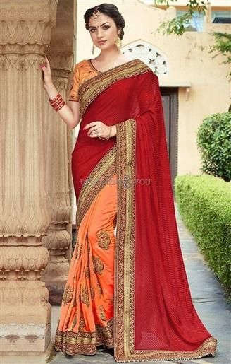 52dab88068 #Buy #Attractive Stone Worked Red-Orange Combination #Saree For #Reception  #Online. This #Sari Set Has #Embroidery, Short Sleeves, Round Neckline, ...