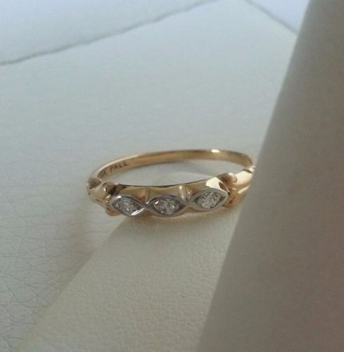 """$175.00 Beautiful vintage estate solid 14k yellow, white gold and palladium antique petite and dainty style wedding band ring featuring 3 genuine round natural white diamonds in a classic design wedding band, anniversary band or stacking ring setting. Classic versatile design: art deco - Edwardian - Georgian - Victorian - Great Gatsby overall classic style. A great April birthstone ring gift, stacking ring, or a stunning wedding band ring or """"something old"""" bridal jewelry for the bride."""
