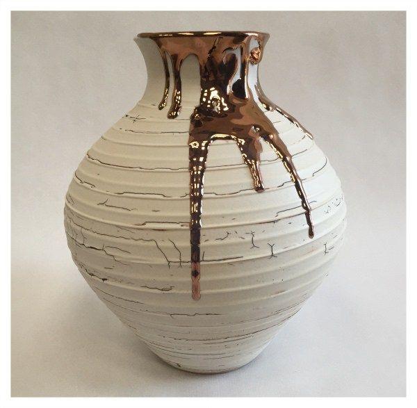 Medium Textured Vase with Copper Lustre by Alex McCarthy