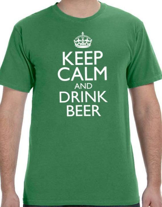 St Patrick's Day Keep Calm and Drink Beer Men's T-shirt Husband Gift Cool Party T Shirt Boyfriend Gift Shirts Irish Gift Ireland shirt