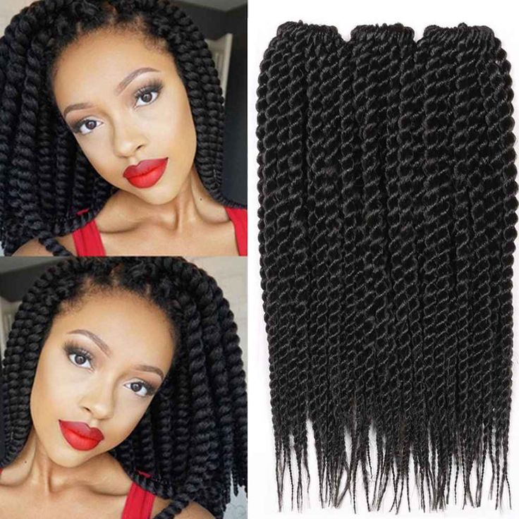 3*18R Synthetic Senegalese Braids Free Tress Crochet Hair Extensions 12'' Black #Dsoar #BraidHairExtension