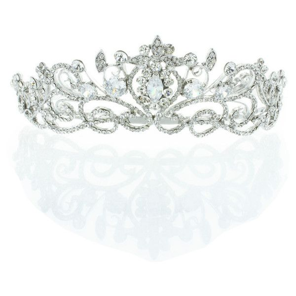 Kate Marie 'keli' Rhinestone Crown Tiara Headband in Silver ($84) ❤ liked on Polyvore featuring jewelry, tiara, accessories, crown, headbands, grey, jewelry & watches, prom crowns, rhinestone prom jewelry and silver jewellery