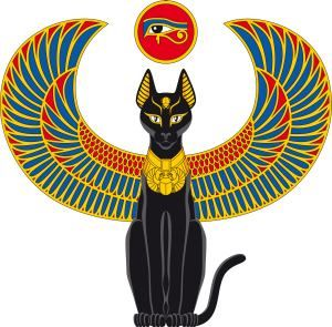 A thoroughly Egyptian cat with an eye of Ra