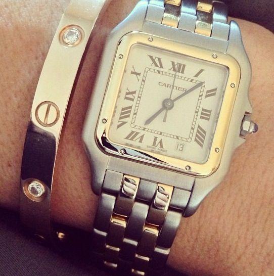 Cartier wrist watch. The design, known as Santos de Cartier, was made specially for Brazilian aviator Alberto Santos-Dumont.
