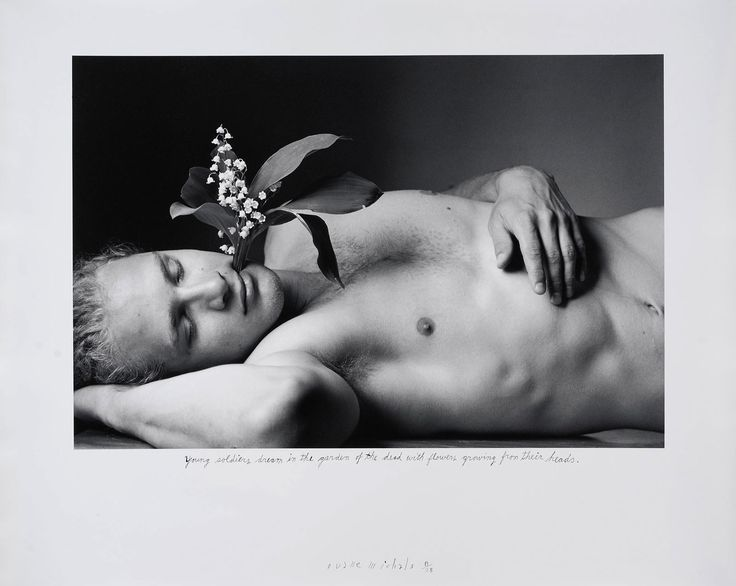 "Exhibition: 'Storyteller: The Photographs of Duane Michals' at Carnegie Museum of Art, Pittsburgh. ""It is Michals great skill as an artist and a human being that enables us the possibility of accessing some aspect of the mystery of our existence."" http://artblart.com/2015/01/30/exhibition-storyteller-the-photographs-of-duane-michals-at-carnegie-museum-of-art-pittsburgh/ Photo: Duane Michals. 'Young Soldiers Dream in the Garden of the Dead with Flowers Growing from Their Heads' 1995"