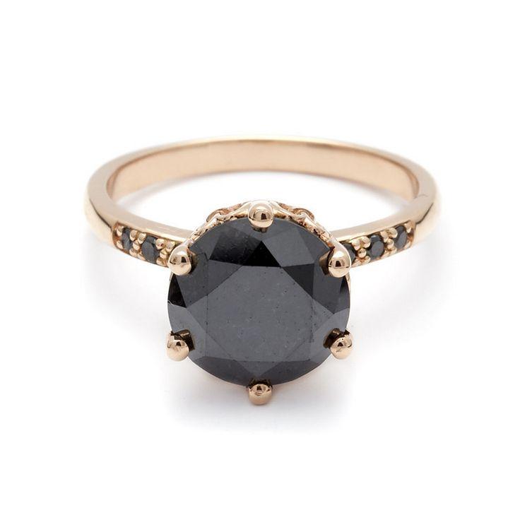 Hazeline Black Diamond engagement ring in 14k Rose Gold \\ unique + timeless