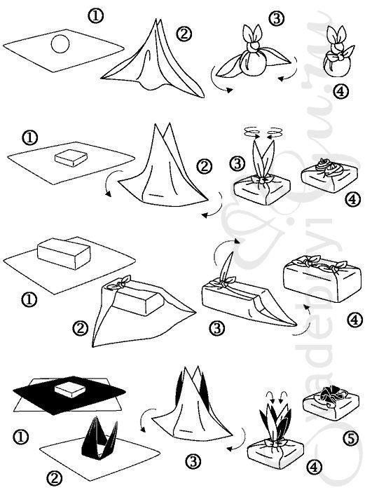 Схемы фурошики, сворачивание ткани Схемы фурошики Фурошики Галереи - Ковровая вышивка и креативное рукоделие