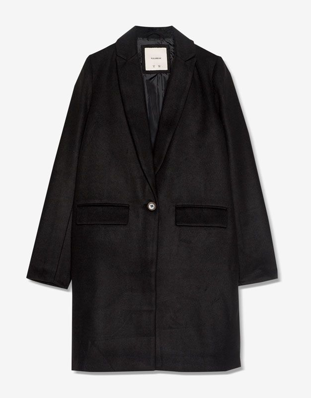 Manteau tissu de laine style masculin - Vêtements - Nouveautés - Femme - PULL&BEAR Suisse