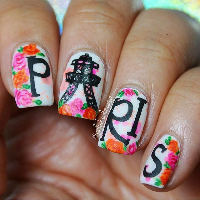 Floral Paris Inspired Nail Art