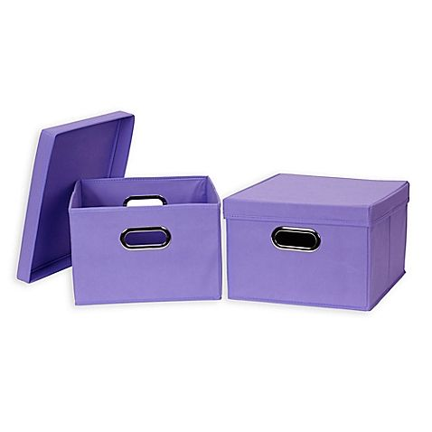 Household Essentials® Collapsible Fabric Storage Boxes With Lids (Set Of 2)