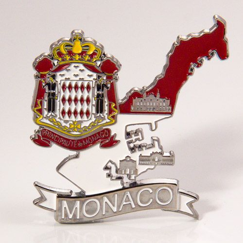 Metal Fridge Magnet: Monaco. Map of Monaco (Chrome Plating and Enamel)