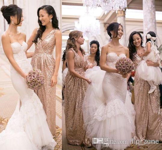Bling Rose Gold Cheap 2015 V-Neck Bridesmaid Dresses Sleeveless Sequins Backless Floor-Length Long Beach Wedding Gowns Light Gold Champagne, $90.4 | DHgate.com