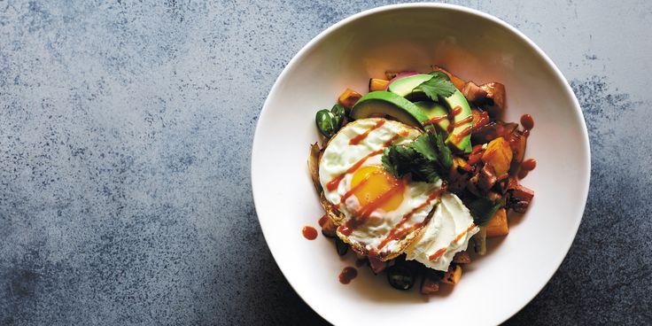 Chilli Bacon   Eggs with Sweet Potato Hash via @iquitsugar