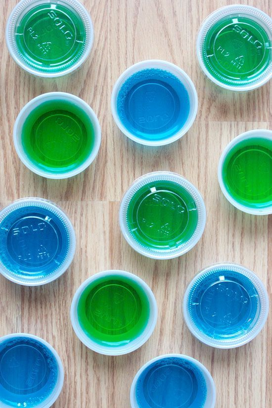 Berry blue Jello and lime Jello with Malibu rum make delicious blue and green Jello shots to cheer on our favorite Seattle football team! (post contains affiliate links)