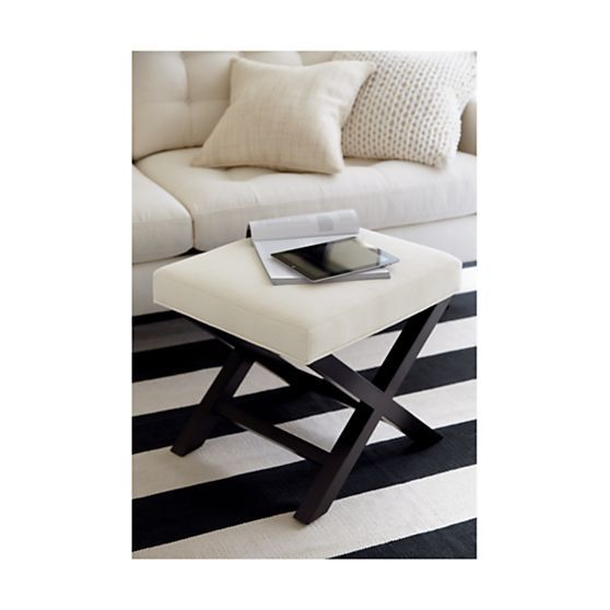Olin Black Striped Cotton Rug  | Crate and Barrel